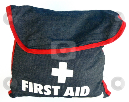 First Aid Kit stock photo, First Aid Kit denim bag with red piping. Isolated on white by Martin Darley