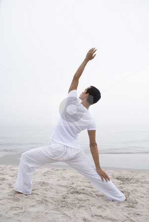 Yoga man stock photo, Yoga, spirituality, exercise, stretching, stretch, outdoor, sky, white, cloudy, movement, activity, health, healthy, fun, spirit, far-east, man, young, youth by Stefan Breton