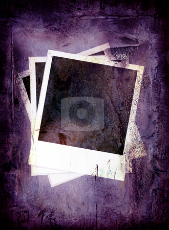 Purple grunge polaroid stock photo, Grunge background in pruple with three polaroid images by Michael Travers