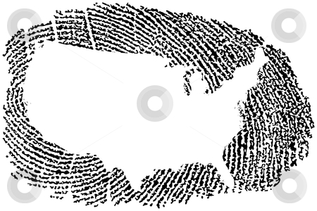 United States Map within a Fingerprint stock vector clipart, United States Map within a Fingerprint by Adrian Sawvel