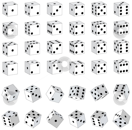 White Dice stock vector clipart, Various White Dice by Adrian Sawvel