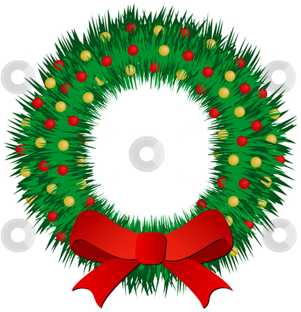 Christmas Wreath stock vector clipart, Christmas wreath with red and gold balls by Adrian Sawvel