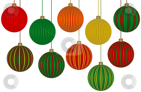 Ten Fabulous Christmas Ornaments stock vector clipart, Ten Fabulous Christmas Ornaments. Each ball is grouped separately for easy editing. by Adrian Sawvel