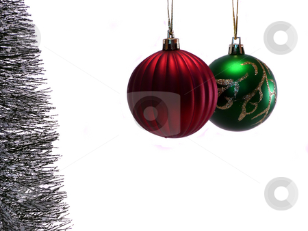 Red and Green Christmas Ornaments stock photo,  by Corinna Walby