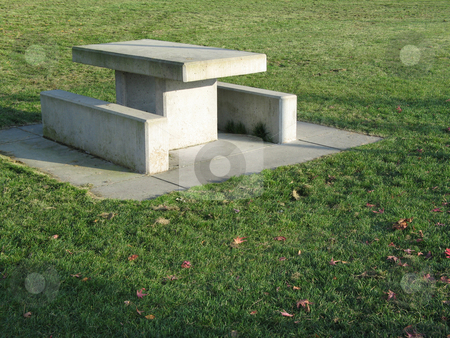 Concrete picnic table stock photo,  by Mbudley Mbudley