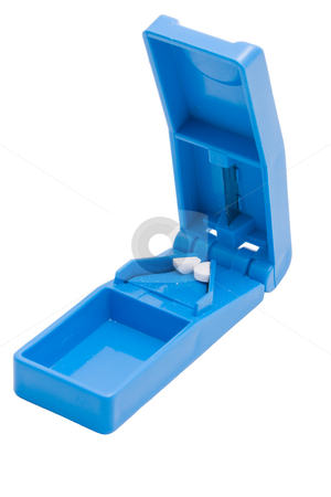 Tablet Cutter stock photo, A blue tablet cutter against a white background by Nicholas Rjabow
