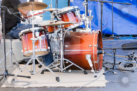 Drum Kit stock photo, A drum kit on stage by Nicholas Rjabow