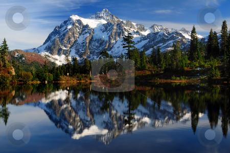 Close-up of Mt Shuksan  stock photo, Close-up of Mount Shuksan reflected across Picture Lake by Nilanjan Bhattacharya