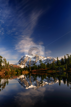 Mt Shuksan vertical wide view stock photo, A vertically oriented wide angle picture perfect shot of Mount Shuksan reflected across Picture Lake by Nilanjan Bhattacharya