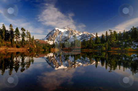 Mt Shuksan wide view stock photo, A wide angle portrait of Mount Shuksan and its reflection by Nilanjan Bhattacharya