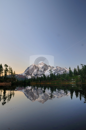 Mt Shuksan after sunset stock photo, Mount Shuksan from picture lake after sunset on a clear day by Nilanjan Bhattacharya