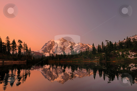 Mt Shuksan with alpine glow stock photo, Mount Shuksan with the alpine glow after sunset by Nilanjan Bhattacharya