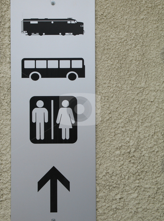 Bus, train, washroom sign stock photo,  by Mbudley Mbudley