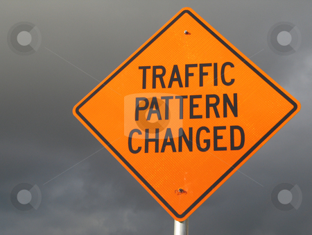 Traffic pattern changed sign stock photo,  by Mbudley Mbudley