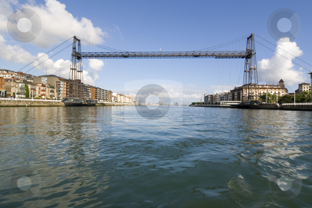 Tourism transportation bridge stock photo, Hanging bridge of portugalete is the oldest hanging bridge of the world and it is unesco patrimony of humanity by Ivan Montero