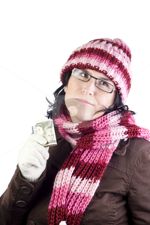 Shopping girl stock photo, Adult christmas woman thinking in what to buy holding a dollar note by Ivan Montero