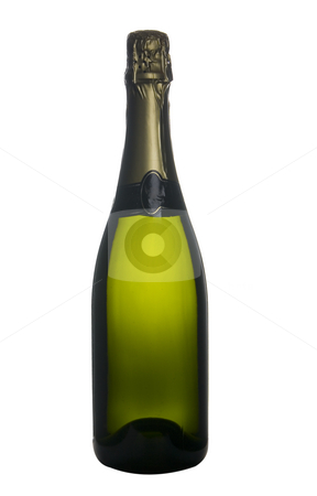 Champagne bottle celebration stock photo, Single bottle of champagne wine isolated on withe background by Ivan Montero