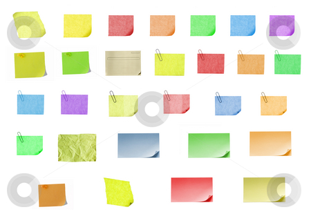 Isolated blank postit paper on withe background stock photo, Isolated blank color paper post it or postit where you can write or edit easily by Ivan Montero