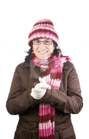Cold girl stock photo, Christmas girl shaking and rubbing because of winter by Ivan Montero