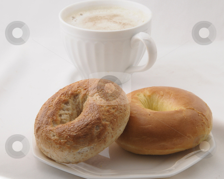 Bagels in the Morning stock photo, Fresh bagels in the morning for breakfast. by Timothy OLeary