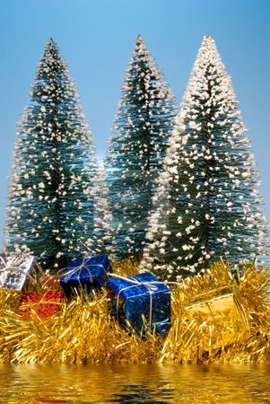 Christmas Lake stock photo, Christmas presents under pine trees by a lake. by Robert Byron