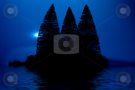 Moonlight Island stock photo, A moon lit island in a lake at night. by Robert Byron