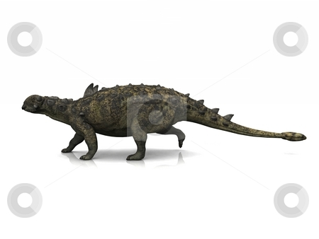 Euoplocephalus stock photo, A Euoplocephalus poses on a slightly reflective floor. by Allan Tooley