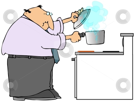 Man Cooking On A Stove stock photo, This illustration depicts a man holding a boiling pot over an electric stove. by Dennis Cox