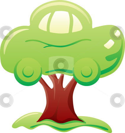 Car on tree stock vector clipart, Abstract green car on tree symbolizes biofuel by Oxygen64