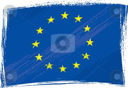 Grunge European Union flag stock vector clipart, European Union flag created in grunge style by Oxygen64
