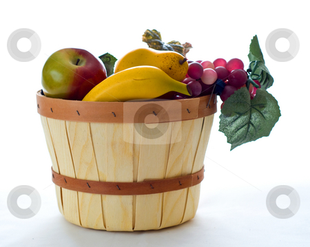 Autumn fruit basket stock photo, A small basket filled with various fruit by RCarner Photography