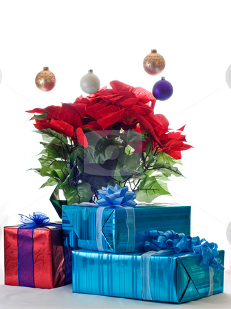 Presents and pointsetta stock photo,  by RCarner Photography