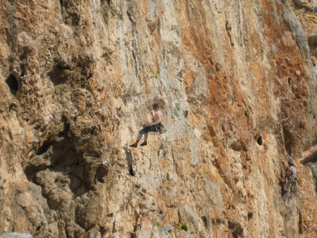 Rock Climbing Athens stock photo, A new rock climbing route in athens. by Maria Malli