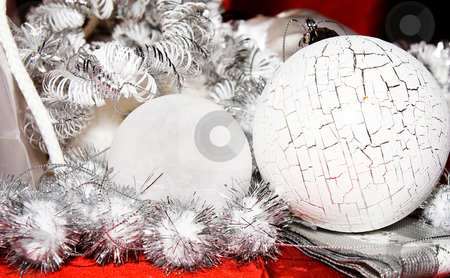Xmas decoration ornaments   stock photo, Xmas decoration ornaments in white and silver and red by Karin Claus