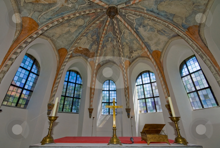 Church windows stock photo, Windows inside a church with frescos on the ceiling by Karin Claus