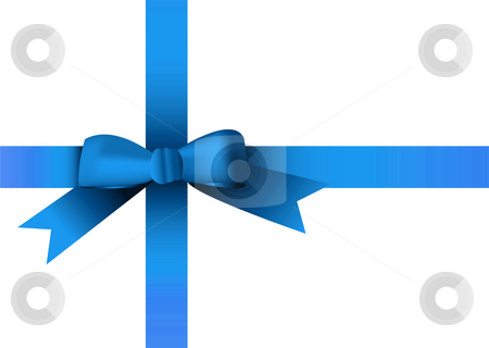 Christmas ribbon blue stock photo, Illustrated blue ribbon with room to add your own copy by Michael Travers