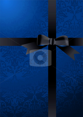 Blue ribbon stock photo, Blue present background with black ribbon and wallpaper design by Michael Travers