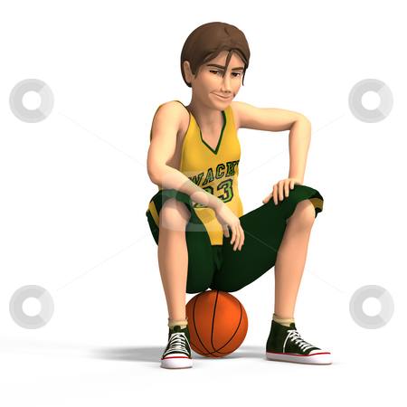Young man plays basketball stock photo, A very young toon character plays basketballWith Clipping Path by Ralf Kraft