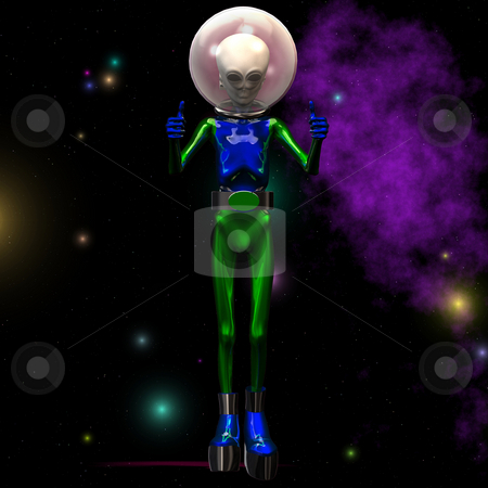 Thumbs up Alien stock photo, Outerspace / Alien series Image contains a Clipping Path / Cutting Path for the main object by Ralf Kraft