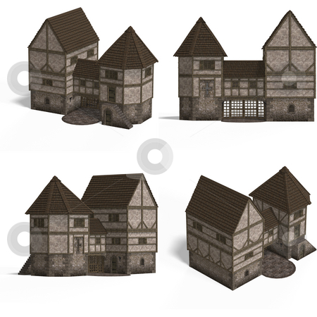 Medieval Houses - Gatehouse stock photo, Four Views of an old fashioned house over white by Ralf Kraft
