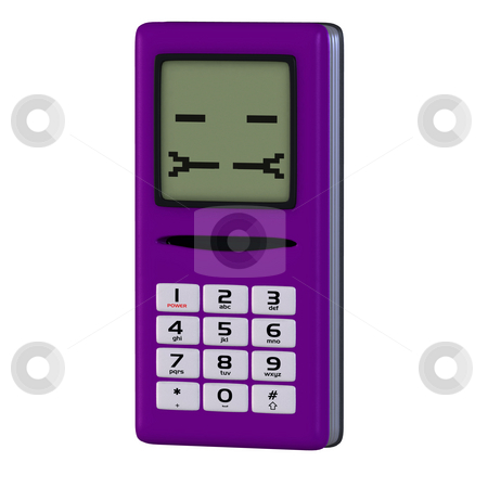 Cartoon cell phone with cute and funny emotional face stock photo, A multicolored cell phone with arms and legs