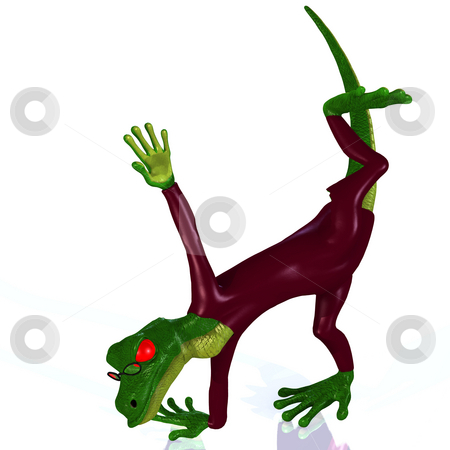 Cartoon style lizard with a lovely face and cute expressions stock photo, A Reptile in extraordinary situations