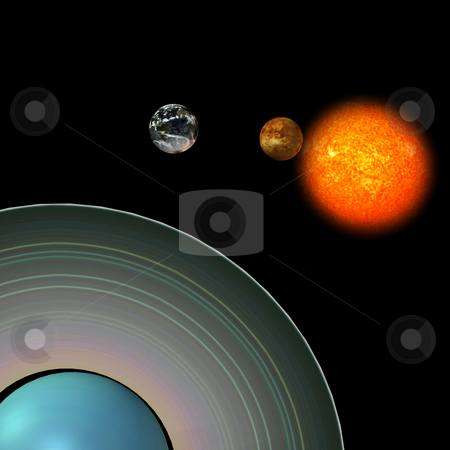 Solar System: Uranus stock photo, Image of the solar system. focus on: Uranus