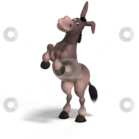 Very cute toon donkey stock photo, Sweet cartoon donkey with pretty face over white and clipping Path by Ralf Kraft