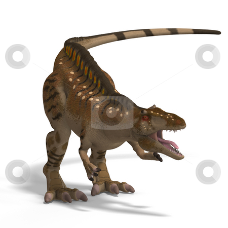 Dinosaur Acrocanthosaurus stock photo, Dinosaur Acrocanthosaurus With Clipping Path over White by Ralf Kraft