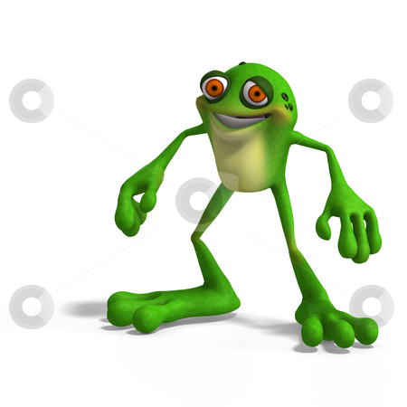 Crazy Toad stock photo, Cartoon Frog with funny Facecontains Clipping Path by Ralf Kraft