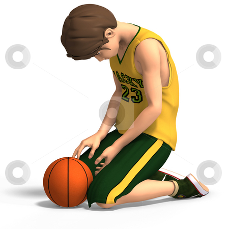 Dejected basketball player stock photo, Young manga character in basketball clothes With Clipping Path by Ralf Kraft