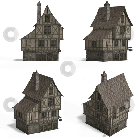 Medieval Houses - Bar stock photo, Four Views of an old fashioned house over white by Ralf Kraft