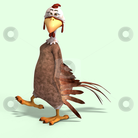 Crazy cartoon chicken stock photo, Sweet toon chicken with cute face over white by Ralf Kraft