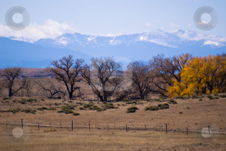 Early snow in the Rocky Mountains stock photo, Autumn colors east of the Rockies. by RCarner Photography